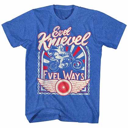 Evel Knievel Evel Ways 2 Mens Blue T-Shirt