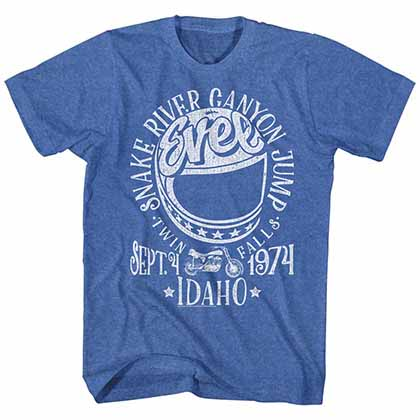 Evel Knievel Snake River Mens Blue T-Shirt