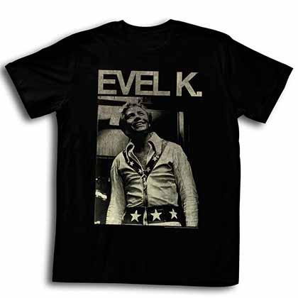 Evel Knievel Evel K Mens Black T-Shirt