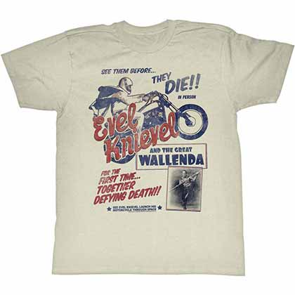 Evel Knievel Wallenda Mens White T-Shirt