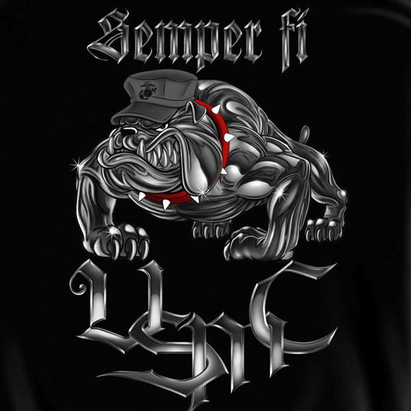Marine Corps Wallpapers: USMC Marines Semper Fi Bulldog Black Graphic Hoodie