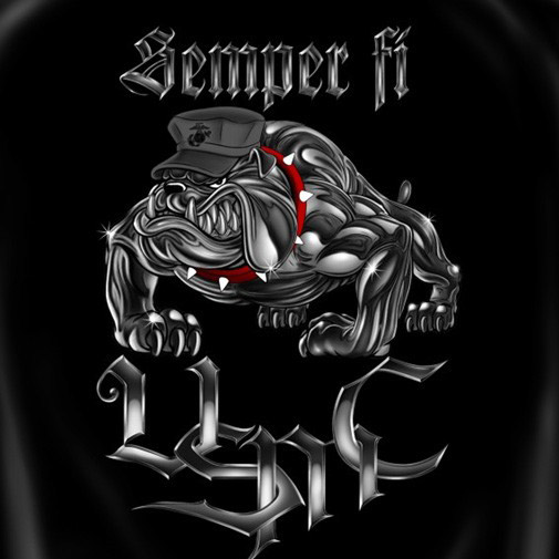 Semper Fi Marine Corps USA Patriotic Black Graphic T-Shirt