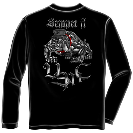 USMC Marines Semper Fi USA Patriotic Black Long Sleeve