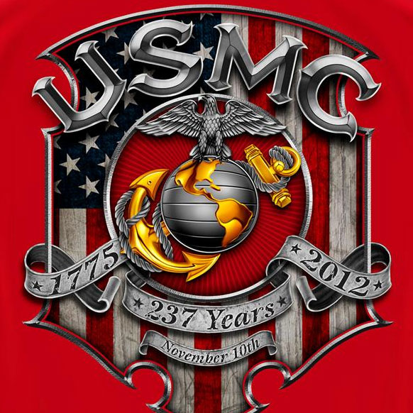 USMC Marines Birthday Tee Red