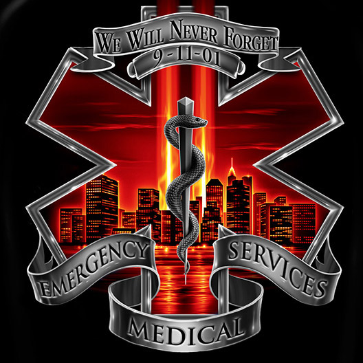 EMS Never Forget 9/11 Patriotic Black Graphic T Shirt
