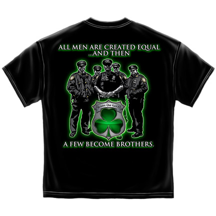 Police Force Brothers St. Patrick's Day Black Graphic Tee Shirt