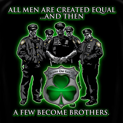 Police Force Brothers St. Patrick's Day Black Graphic T-Shirt