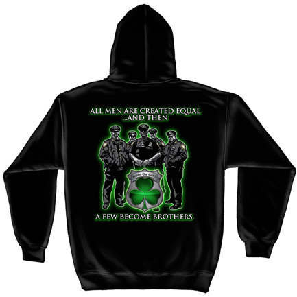 Police Brothers St. Patrick's Day Black Graphic Hoodie Sweatshirt FREE SHIPPING