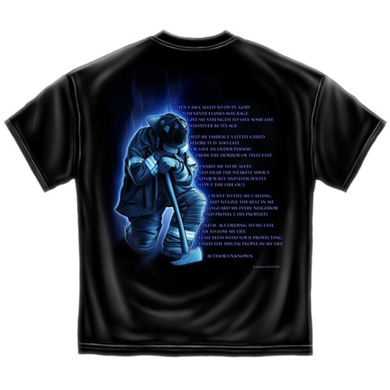 Firefighter's Prayer USA Patriotic Black Graphic T Shirt