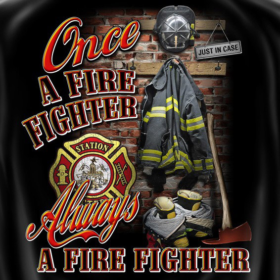 Once Always A Firefighter USA Patriotic Black Graphic Tee Shirt