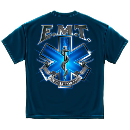 EMT On Call For Life T-Shirt - Blue