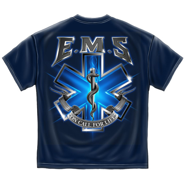 EMS On Call For Life USA Patriotic Navy Blue Graphic TShirt
