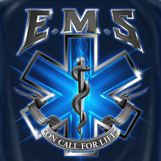 EMS On Call For Life USA Patriotic Navy Graphic Tee Shirt