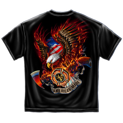 Firefighters American Made USA Patriotic Black Graphic Tee Shirt
