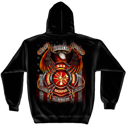 Firefighter 343 True Heroes Black Graphic Hoodie Sweatshirt FREE SHIPPING