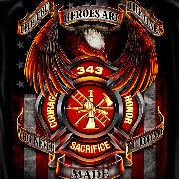 Firefighter True Heroes Tee Black