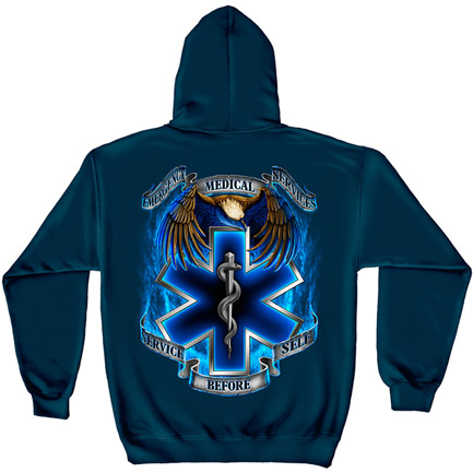 EMS Service Before Self Navy Graphic Hoodie Sweatshirt FREE SHIPPING