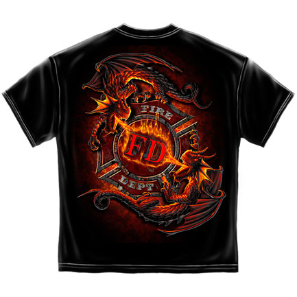 Yin Yang Fire Dragons T-Shirt - Black
