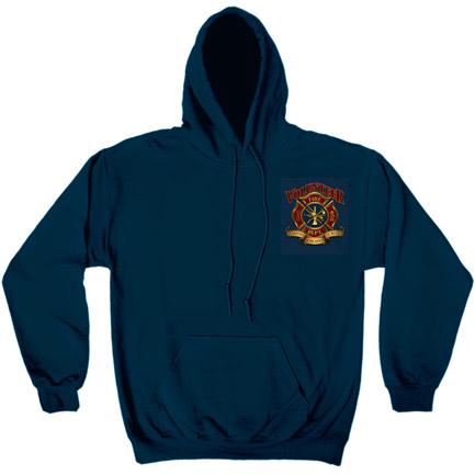 3c9d5b42 Firefighter Volunteer Fire Dept Navy Graphic Hoodie Sweatshirt FREE SHIPPING