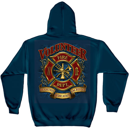 Firefighter Volunteer Fire Dept Navy Graphic Hoodie Sweatshirt FREE SHIPPING