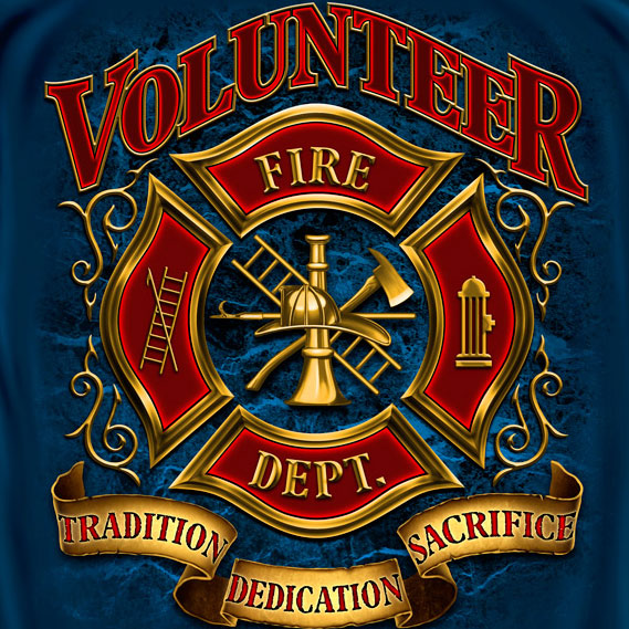 Volunteer Fire Department Tee Blue