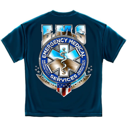 EMS On Call For Life T-Shirt - Blue