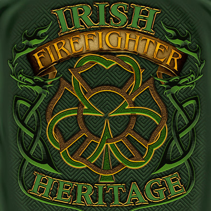 Firefighter Irish Heritage St. Patrick's Day Green Tee Shirt