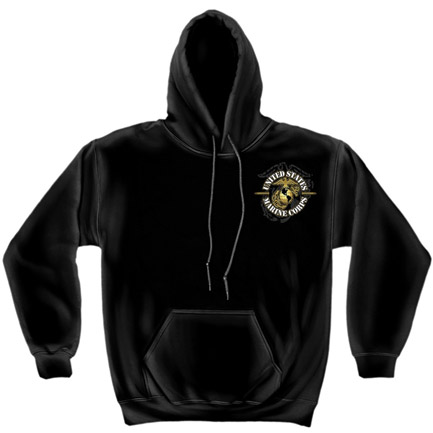 Never Retreat Marines USMC Black Graphic Hoodie Sweatshirt FREE SHIPPING