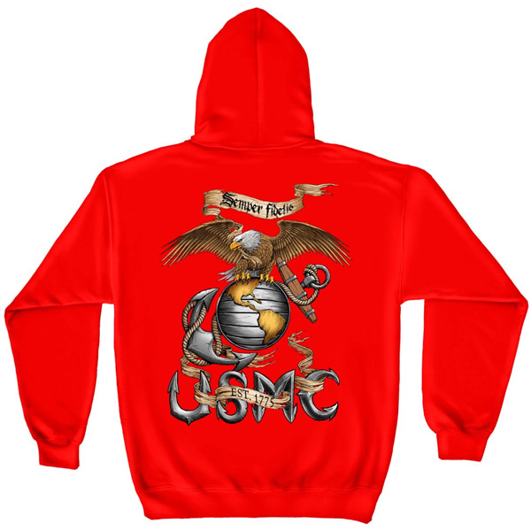 Eagle Semper Fi Marines USMC Red Graphic Hoodie Sweatshirt FREE SHIPPING