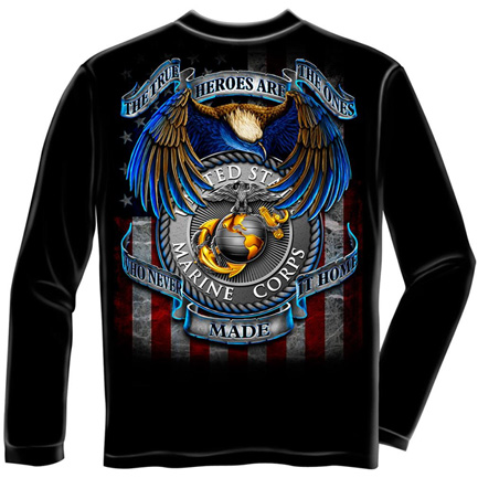 USMC True Heroes Marines Patriotic Black Long Sleeve Tee Shirt