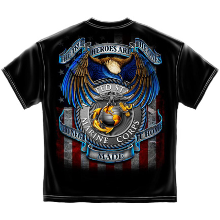USMC True Heroes Marines USA Patriotic Black Graphic T-Shirt