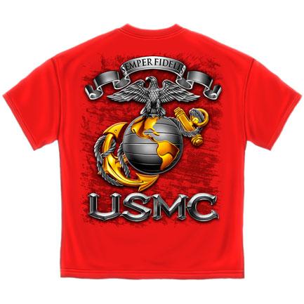 USMC Globe T-Shirt - Red
