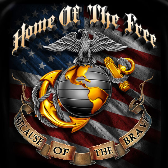USMC Home of the Free T-Shirt - Black