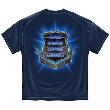 America's Finest Police Prayer Patriotic Navy Blue  Tee Shirt