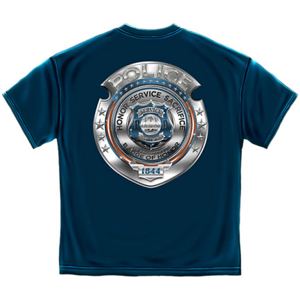 Police Badge of Honor T-Shirt - Blue