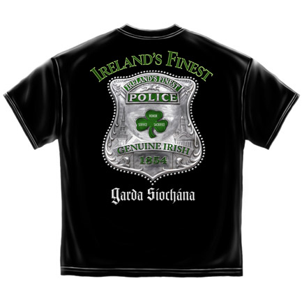 Ireland's Finest Police St. Patrick's Day Black Graphic Tee Shirt