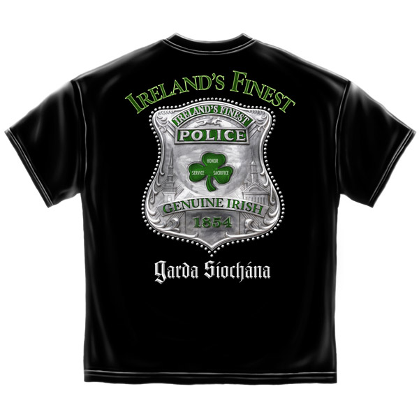 888257ccf Ireland s Finest Police St. Patrick s Day Black Graphic T Shirt
