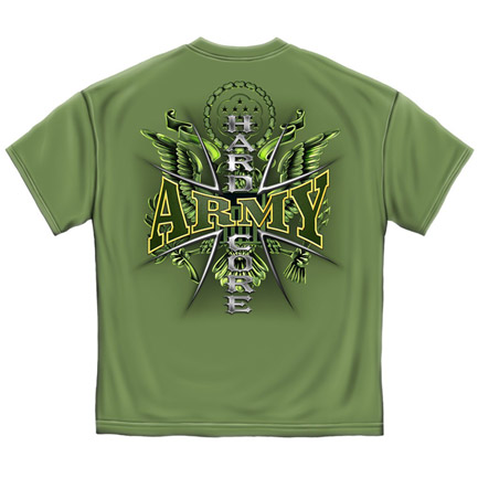 Army Hardcore Military USA Prayer Patriotic Green Graphic Tee Shirt