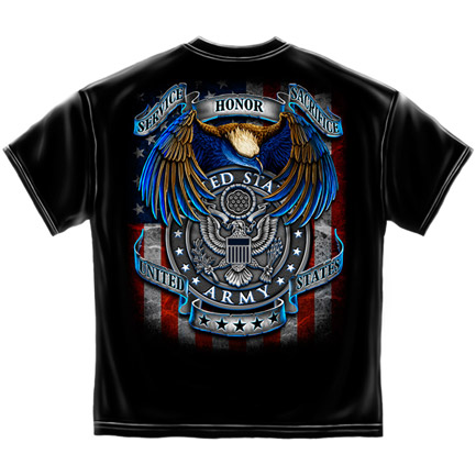 US Army Service Honor Sacrifice Patriotic Black Graphic Tee Shirt