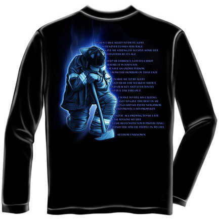 Firefighters Prayer Black Long Sleeve Graphic TShirt