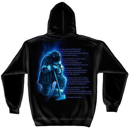 Firefighter Prayer Black Graphic Hoodie Sweatshirt FREE SHIPPING