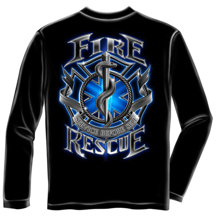 Fire Rescue Service USA Black Long Sleeve T-Shirt
