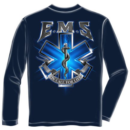 EMS On Call For Life USA Navy Long Sleeve Tee Shirt