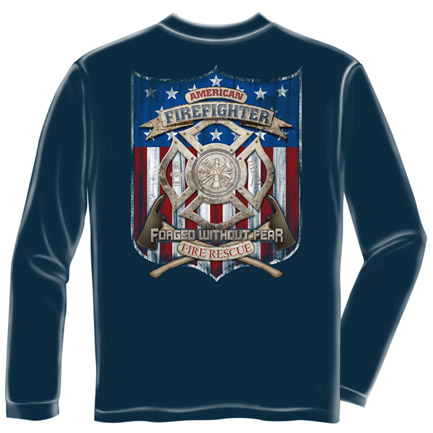 Firefighter Forged Without Fear USA Navy Long Sleeve TShirt
