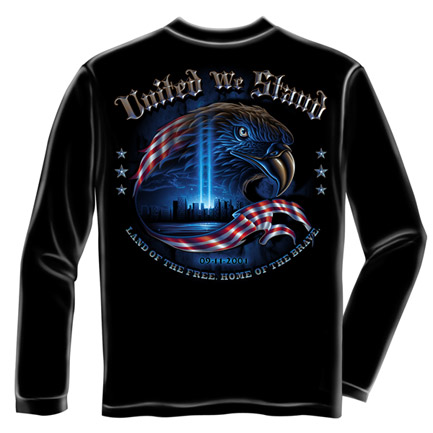 United We Stand 9/11 USA Black Long Sleeve Tee Shirt