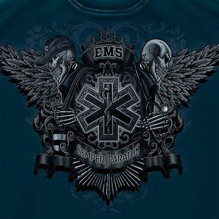Emergency Medical Services Skull Crest Tee Shirt