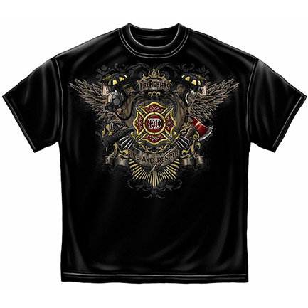 Black Men's Firefighter Fire Dept. Wing And Skulls T-Shirt