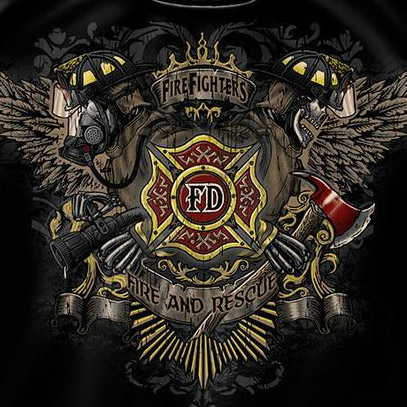 black mens firefighter fire dept wing and skulls tshirt