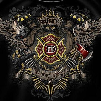 Black Men S Firefighter Fire Dept Wing And Skulls T Shirt