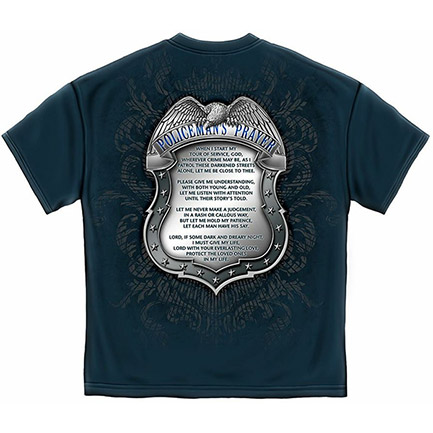 Men's Blue Policeman's Prayer Badge Tee Shirt